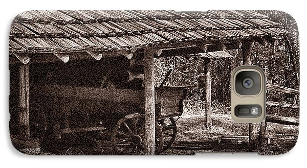 Galaxy Case featuring the photograph Pioneer Shed Calotype by Travis Burgess