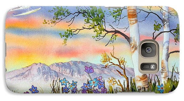 Galaxy Case featuring the painting Piper Cub Over Sleeping Lady by Teresa Ascone
