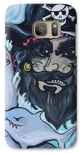 Galaxy Case featuring the painting Pirate Shark Tank by Leslie Manley