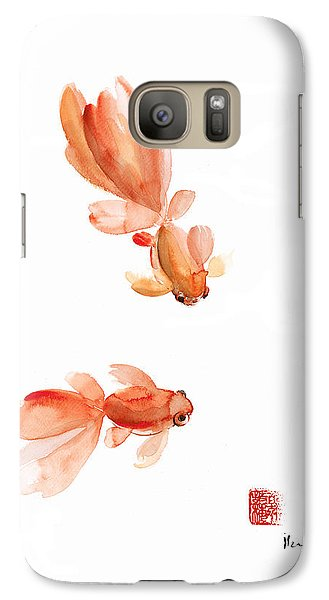 Pisces Zodiac Fishes Orange Red  Pink Fish Water Goldfish Watercolor Painting Galaxy S7 Case by Johana Szmerdt