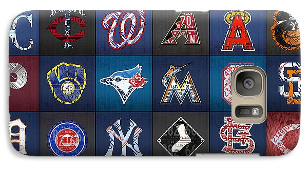 Play Ball Recycled Vintage Baseball Team Logo License Plate Art Galaxy Case by Design Turnpike