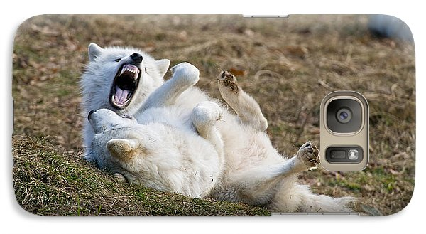 Galaxy Case featuring the photograph Playful Arctic Wolves by Wolves Only