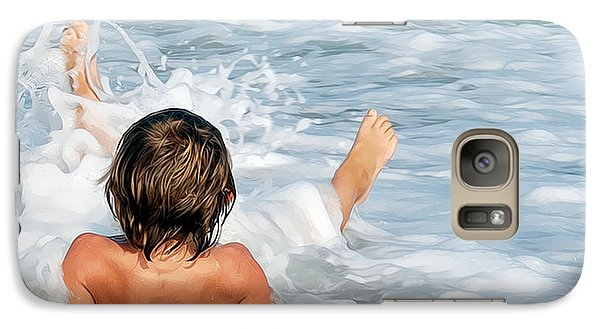 Galaxy Case featuring the photograph Playing In The Waves by Sami Martin