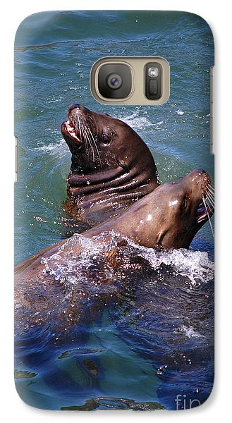 Galaxy Case featuring the photograph Playing Pair Of Sea Lions by Debra Thompson