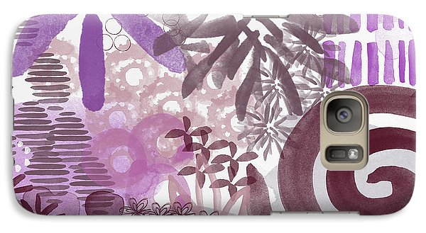 Plum And Grey Garden- Abstract Flower Painting Galaxy Case by Linda Woods