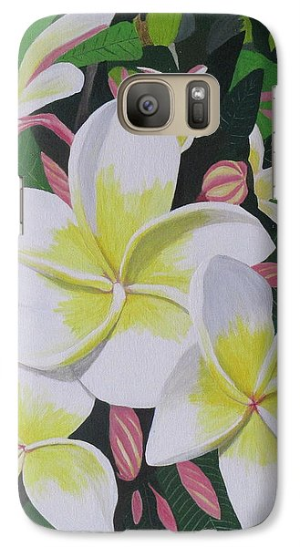 Galaxy Case featuring the painting Plumeria- Aztec Gold by Hilda and Jose Garrancho