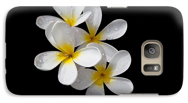 Galaxy Case featuring the photograph Plumerias Isolated On Black Background by David Millenheft