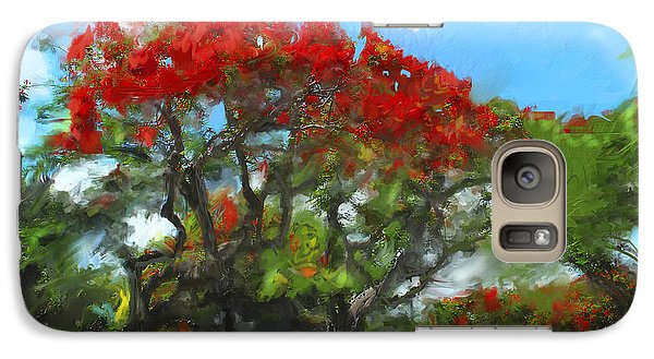 Galaxy Case featuring the painting Poinciana Trees Of Coral Gables by Ted Azriel