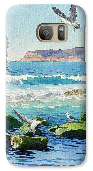 Seagull Galaxy S7 Case - Point Loma Rocks Waves And Seagulls by Mary Helmreich