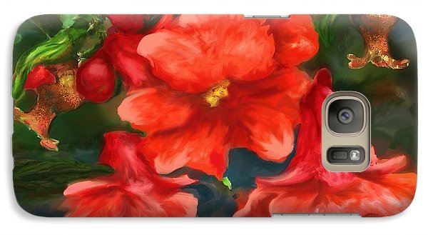 Galaxy Case featuring the painting Pomegranate Blooms Floral Painting by Judy Filarecki