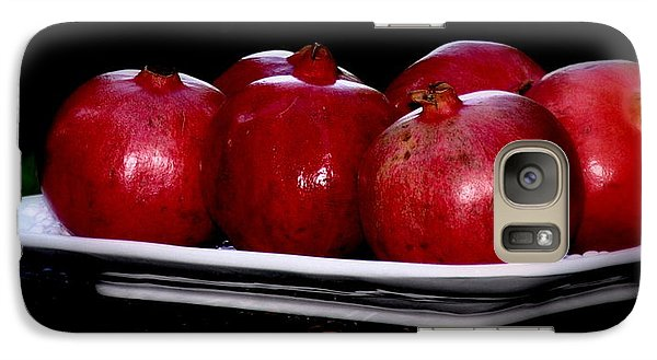 Galaxy Case featuring the photograph Pomegranates On White Platter by Tanya  Searcy