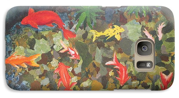 Galaxy Case featuring the painting Pond Fish by Hilda and Jose Garrancho