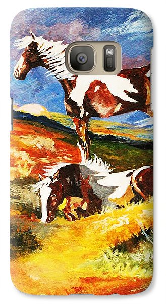 Galaxy Case featuring the painting Ponies At Sunset by Al Brown