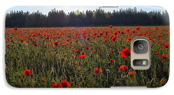 Galaxy Case featuring the photograph Poppies Field Forever by Meir Ezrachi