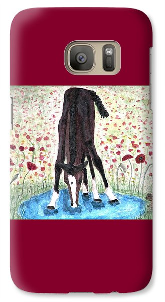 Galaxy Case featuring the painting Poppies N  Puddles by Angela Davies