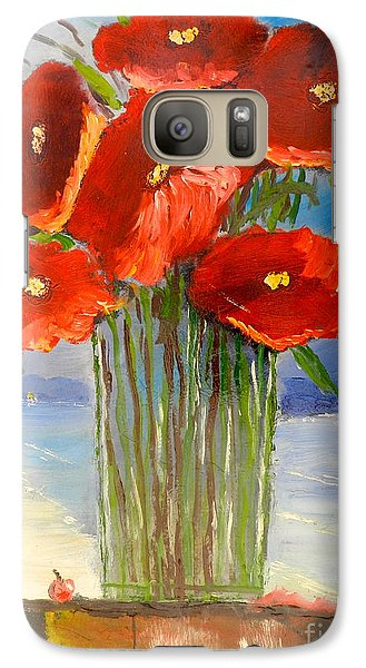 Galaxy Case featuring the painting Poppies On The Window Ledge by Pamela  Meredith