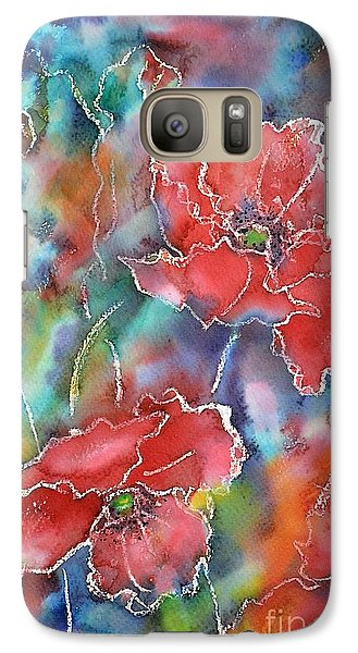 Galaxy Case featuring the painting Poppy Abstract by Kathleen Pio