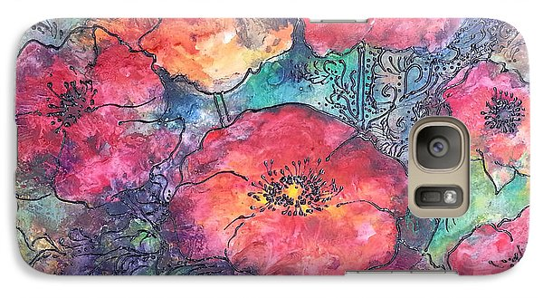 Galaxy Case featuring the painting Poppy Flower Splash Of Spring by Christy  Freeman