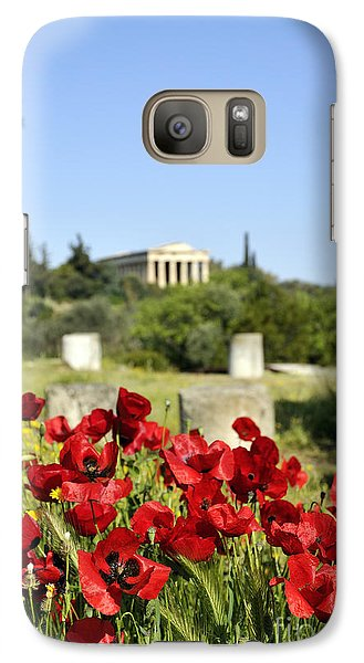 Galaxy Case featuring the photograph Poppy Flowers In Ancient Market by George Atsametakis