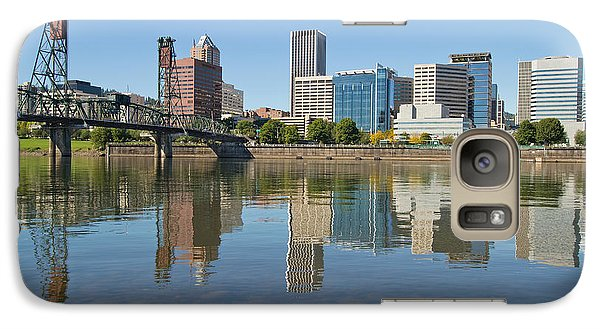 Galaxy Case featuring the photograph Portland Downtown Skyline And Hawthorne Bridge by JPLDesigns