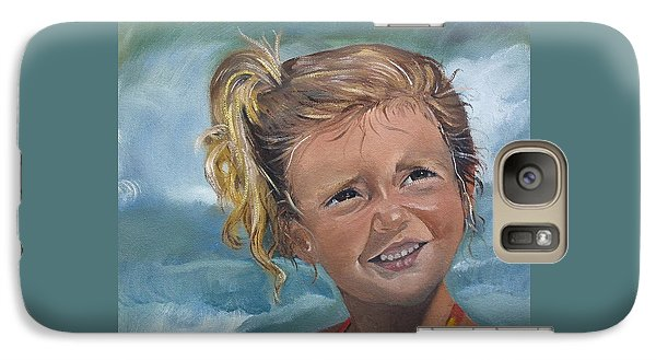 Galaxy Case featuring the painting Portrait - Emma - Beach by Jan Dappen