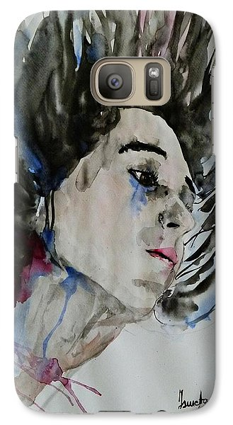 Galaxy Case featuring the painting Portrait- Girl by Ismeta Gruenwald