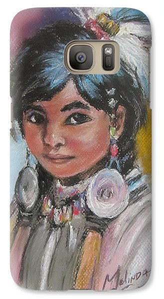 Galaxy Case featuring the painting Portrait Of A Young Indian Girl by Melinda Saminski