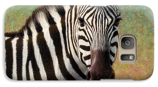 Galaxy Case featuring the painting Portrait Of A Zebra - Square by James W Johnson