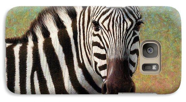 Realistic Galaxy S7 Case - Portrait Of A Zebra - Square by James W Johnson