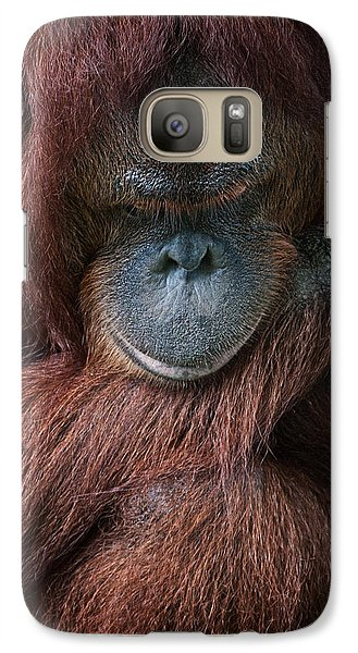Galaxy Case featuring the photograph Portrait Of An Orangutan by Zoe Ferrie
