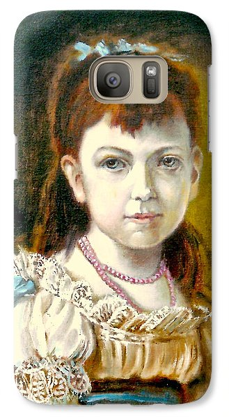 Galaxy Case featuring the painting Portrait Of Little Girl by Henryk Gorecki