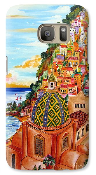 Galaxy Case featuring the painting Positano In My Fantasy by Roberto Gagliardi