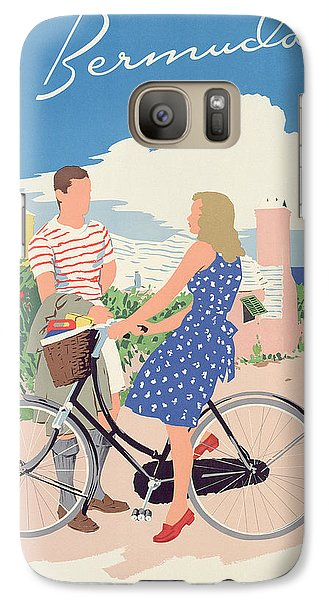 Bicycle Galaxy S7 Case - Poster Advertising Bermuda by Adolph Treidler