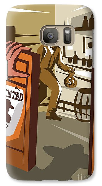 Drum Galaxy S7 Case - Poster Illustration Of An Outlaw Cowboy by Patrimonio Designs Ltd