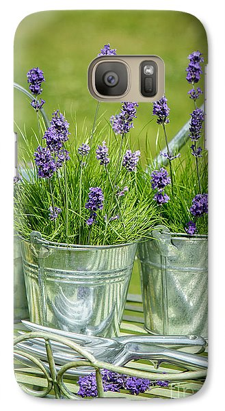 Garden Galaxy S7 Case - Pots Of Lavender by Amanda Elwell