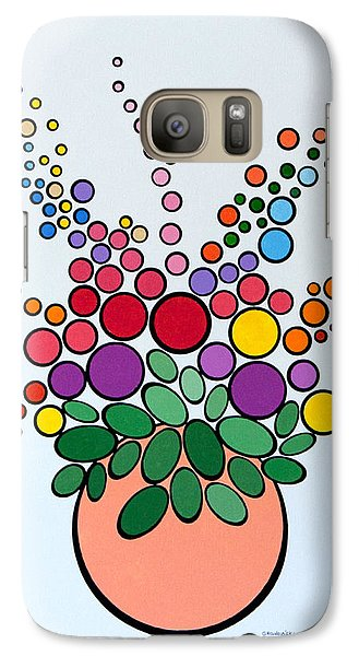 Galaxy Case featuring the painting Potted Blooms - Orange by Thomas Gronowski