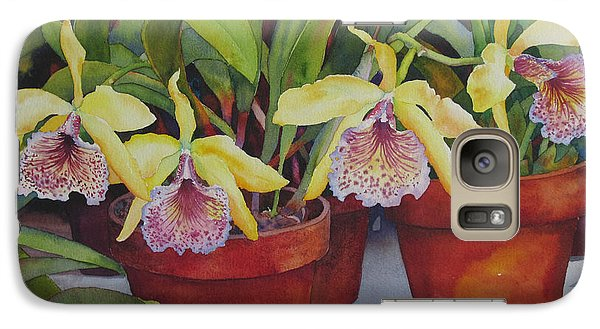 Galaxy Case featuring the painting Potted Orchids by Judy Mercer