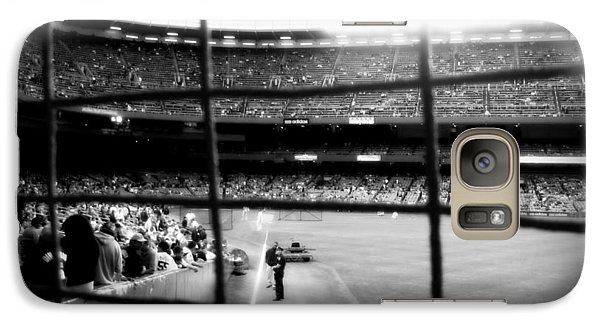 Galaxy Case featuring the photograph Pov Right Field Foul Pole Original Yankee Stadium In Black And White by Aurelio Zucco