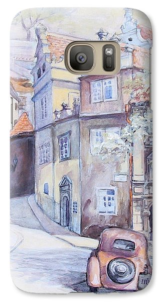 Galaxy Case featuring the painting Prague Golden Well Lane by Marina Gnetetsky