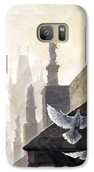 Prague Morning On The Charles Bridge  Galaxy Case by Yuriy Shevchuk
