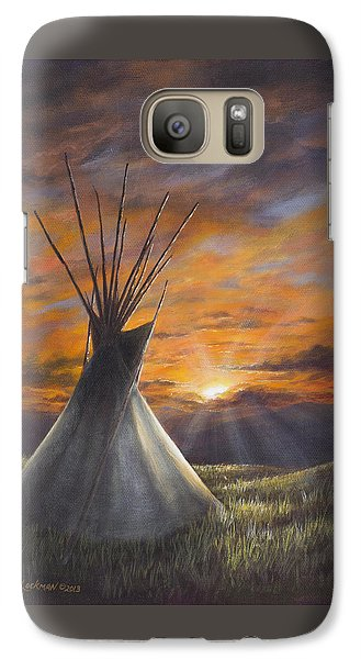 Galaxy Case featuring the painting Prairie Sunset by Kim Lockman