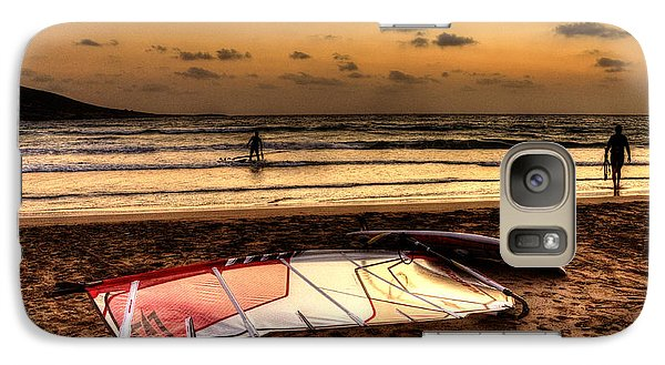 Galaxy Case featuring the photograph Prasonisi - A Day Of Windsurfing Is Over by Julis Simo