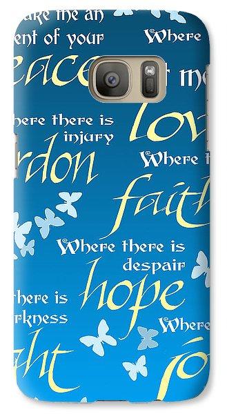 Galaxy Case featuring the digital art Prayer Of St Francis - Pope Francis Prayer - Blue Butterflies by Ginny Gaura