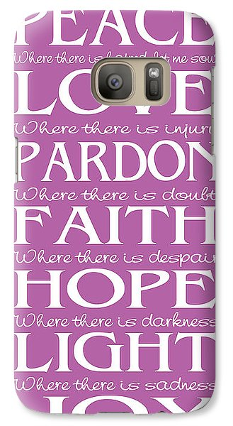 Galaxy Case featuring the digital art Prayer Of St Francis - Subway Style - Radiant Orchid by Ginny Gaura