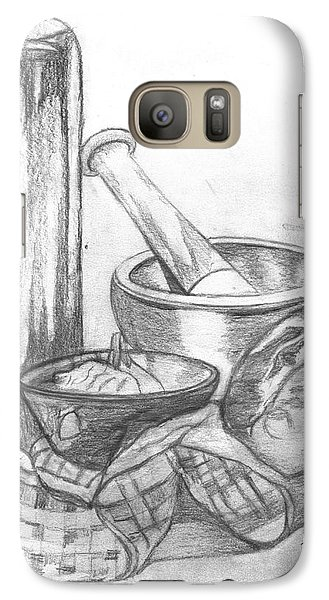 Galaxy Case featuring the drawing Preparing Starter Course by Teresa White