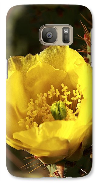 Galaxy Case featuring the photograph Prickly Pear Flower by Alan Vance Ley