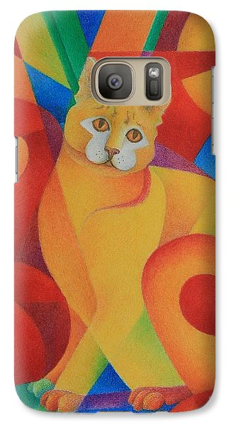 Galaxy Case featuring the painting Primary Cat II by Pamela Clements