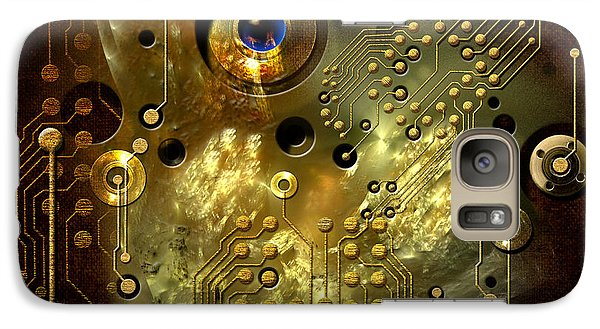 Galaxy Case featuring the digital art Printed Circuit With Blue Eye by Alexa Szlavics