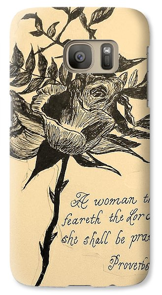 Galaxy Case featuring the drawing Proverbs Verse by Christy Saunders Church