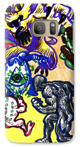 Galaxy Case featuring the drawing Psychedelic Super Battle by John Ashton Golden